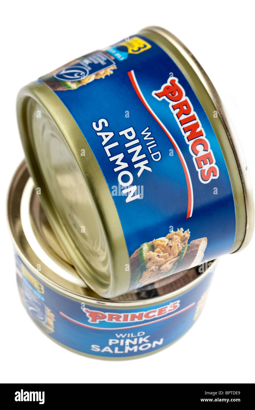 Two tins of Princes wild pink salmon - Stock Image