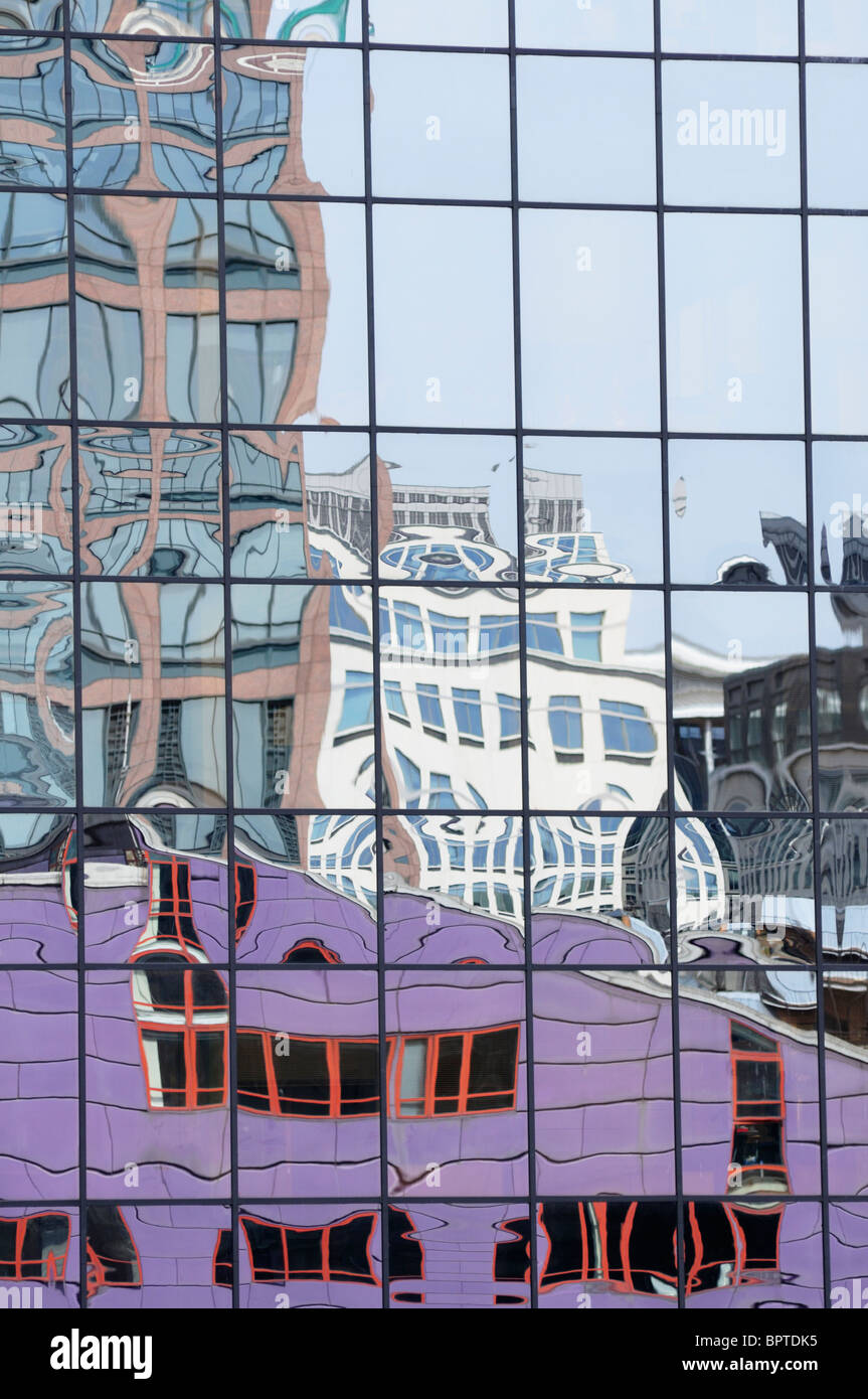 Abstract detail of buildings in the Herons Quay area of Canary Wharf, Docklands, London, England, UK - Stock Image
