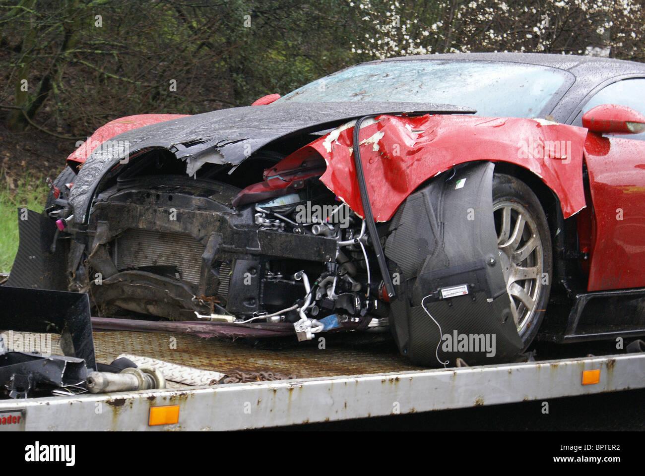 Nearside view of crashed Bugatti Veyron - Stock Image
