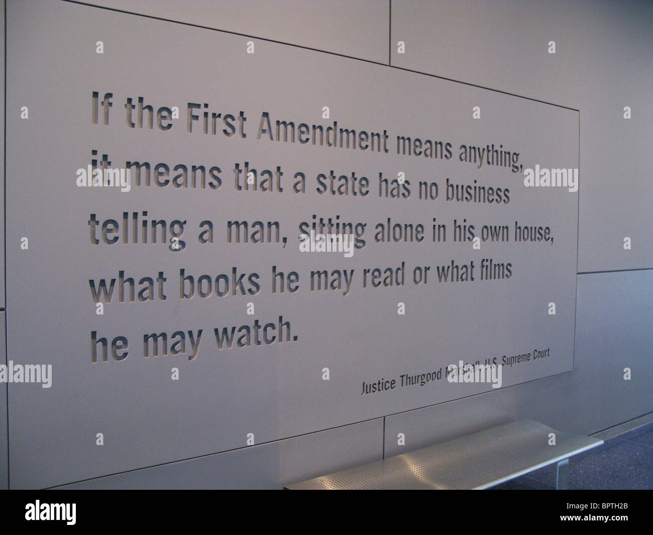 Inscription at Newseum by Thurgood Marshall - Stock Image