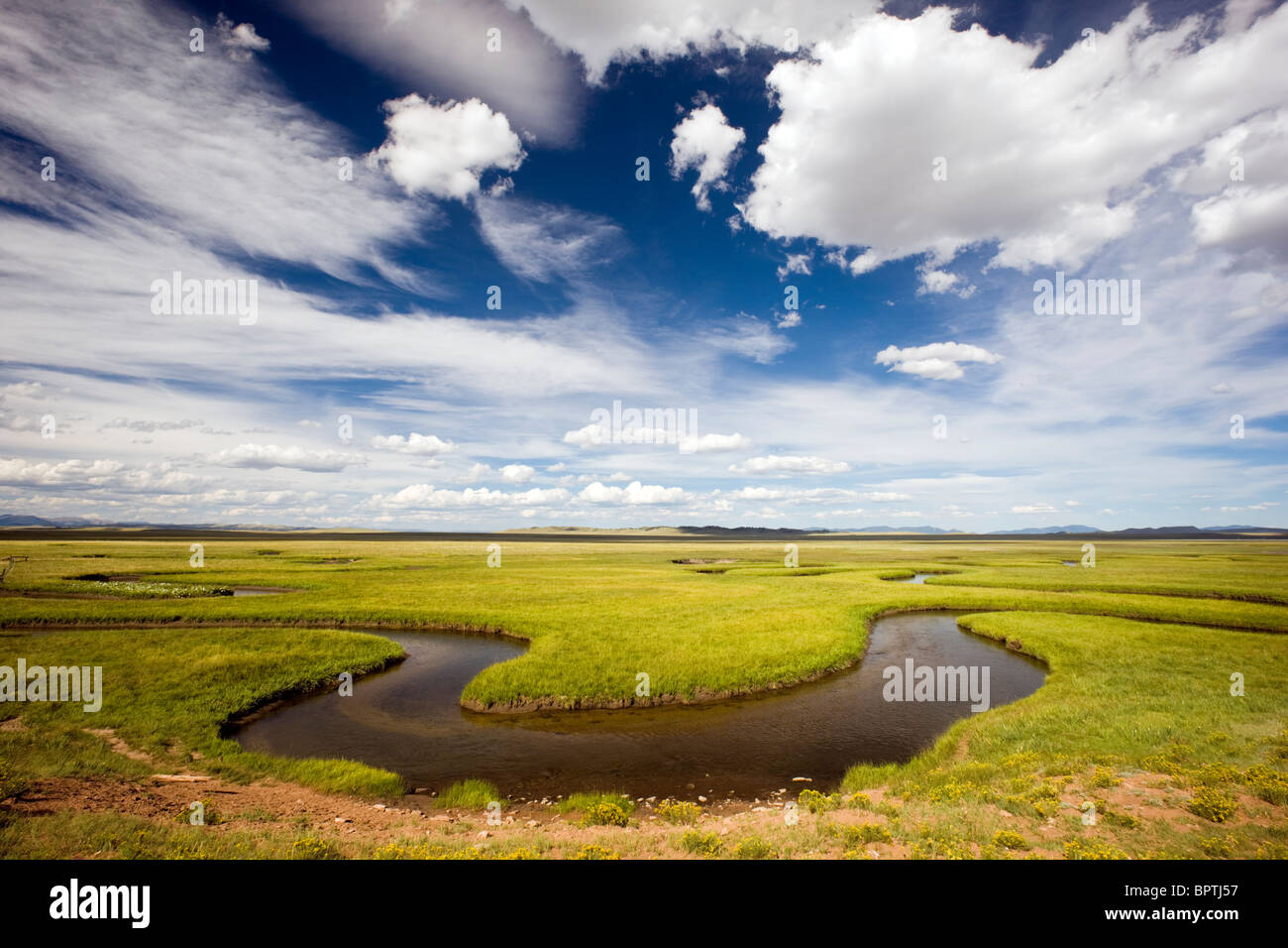 View east of the South Platte River, Park County, Colorado, USA - Stock Image