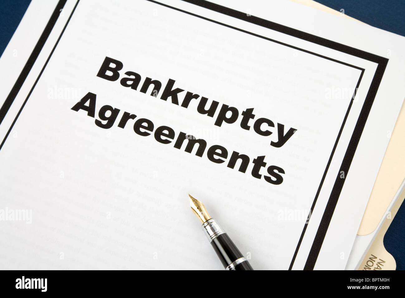 Bankruptcy Agreement and pen, business concept - Stock Image