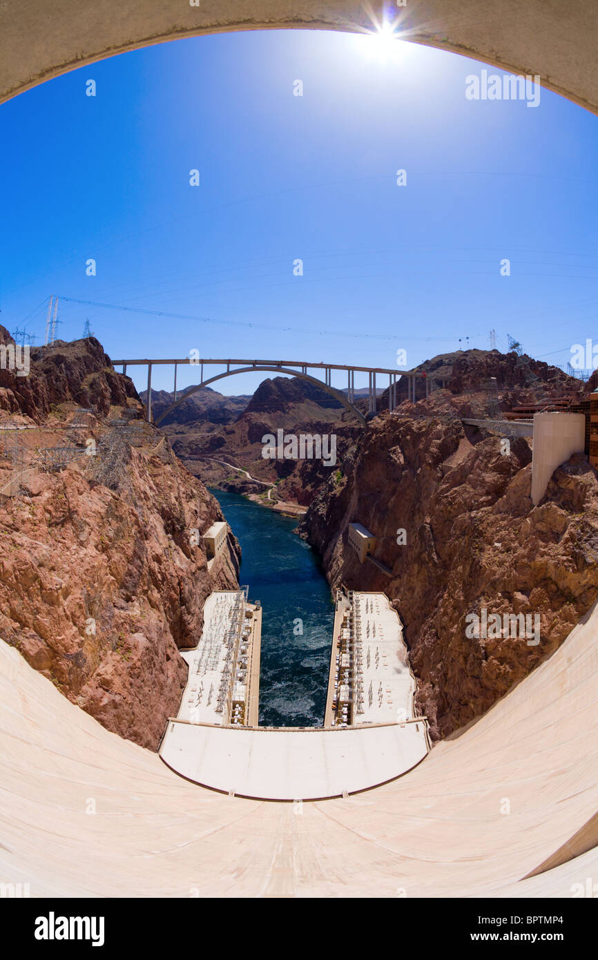 Fisheye view of Hoover Dam and a bypass bridge under construction Stock Photo