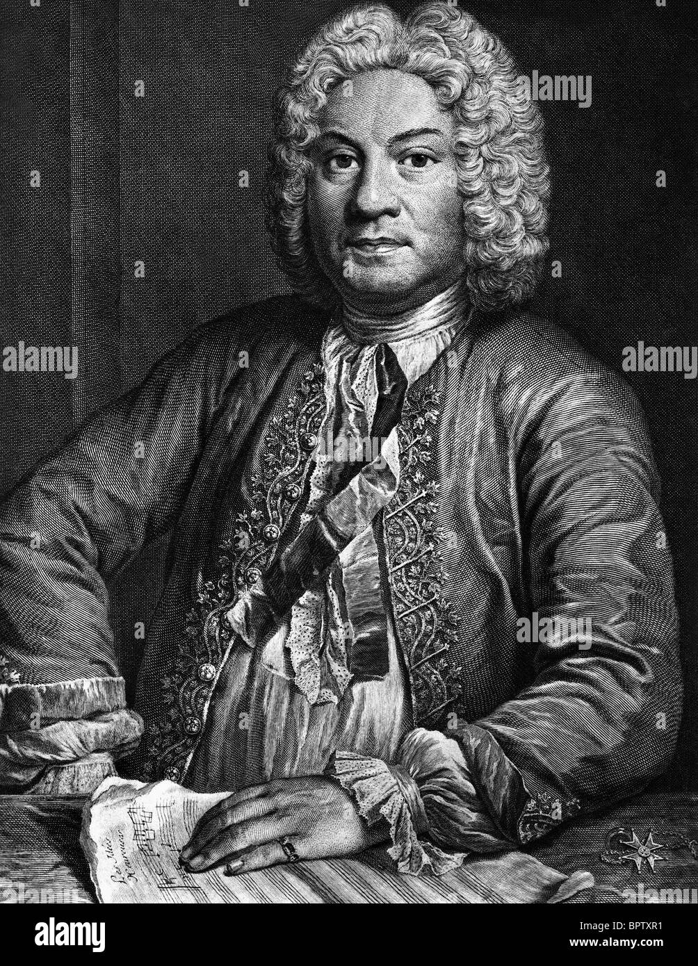 FRANCOIS COUPERIN MUSIC COMPOSER (1824) - Stock Image