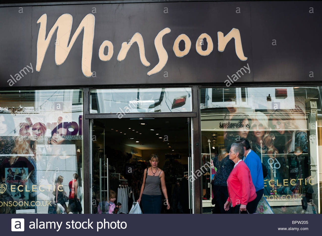 Monsoon clothes store High Street chain in Aberystwyth, Ceredigion, Wales, UK. - Stock Image