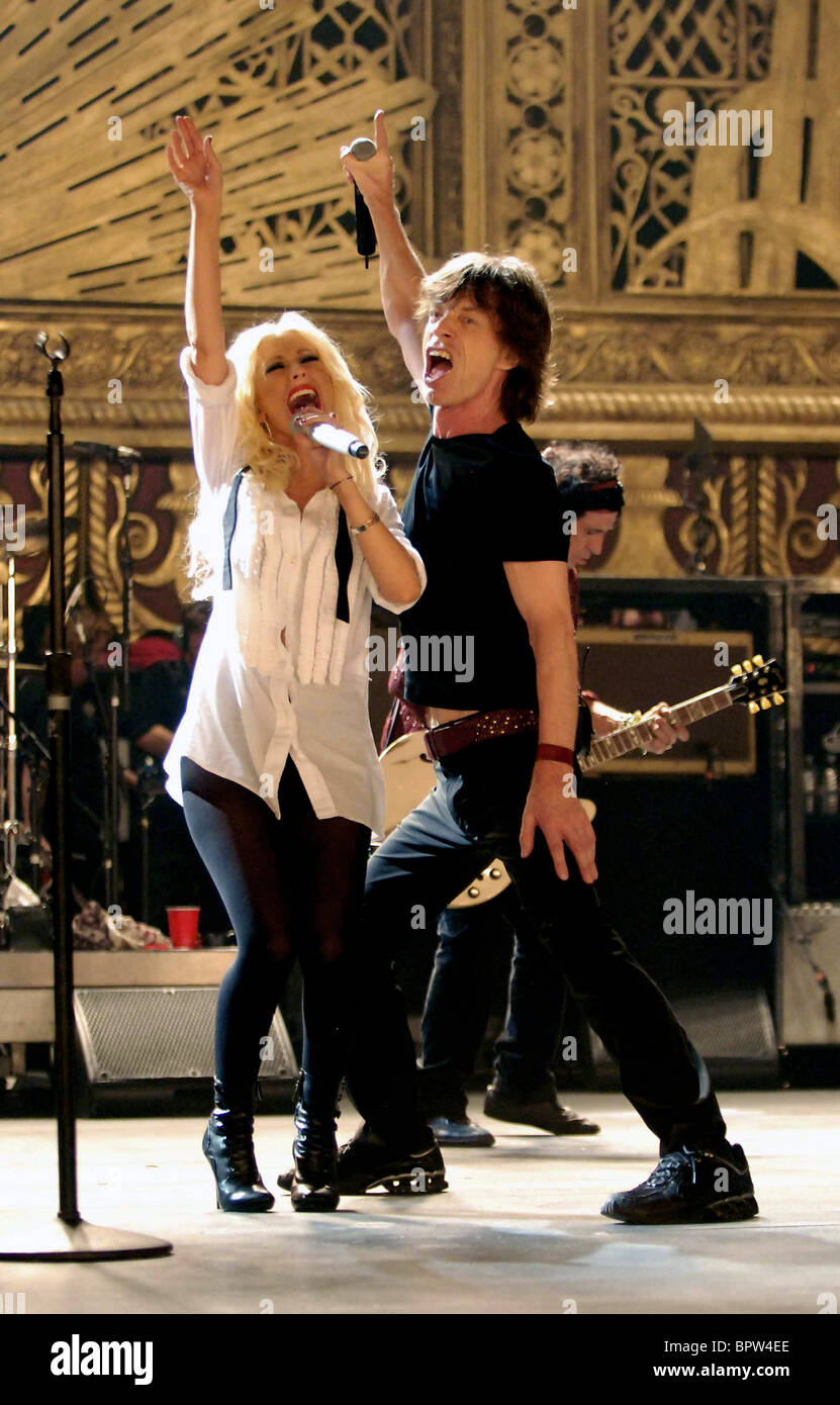 CHRISTINA AGUILERA & MICK JAGGER SHINE A LIGHT (2008) - Stock Image