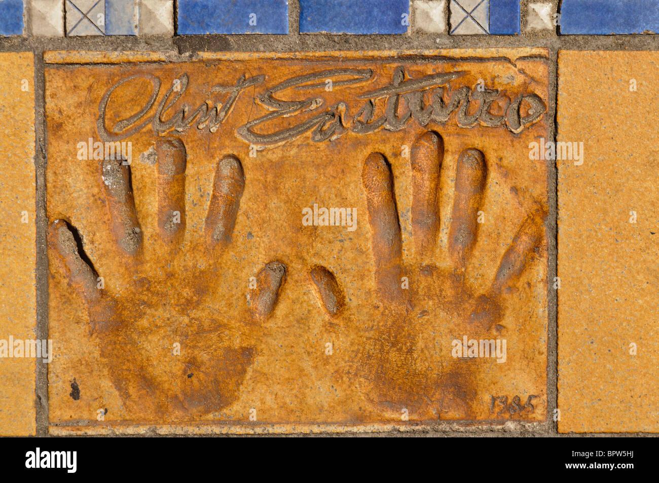 Clay handprint of actor/director Clint Eastwood outside the Palais des Festivals et des Congrès, Cannes - Stock Image