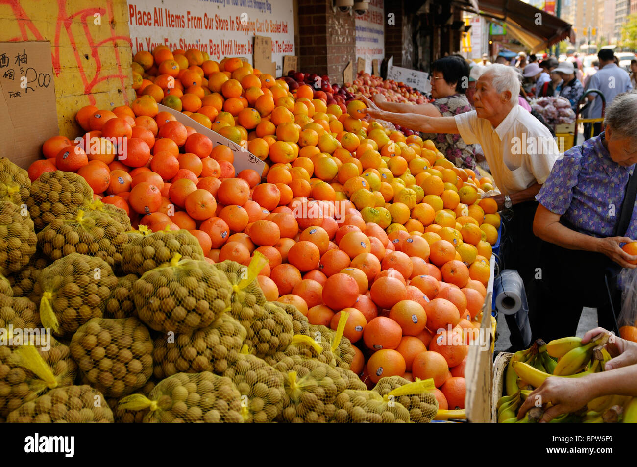 Shoppers picking fruit produce at a sidewalk grocery store in Chinatown Toronto - Stock Image