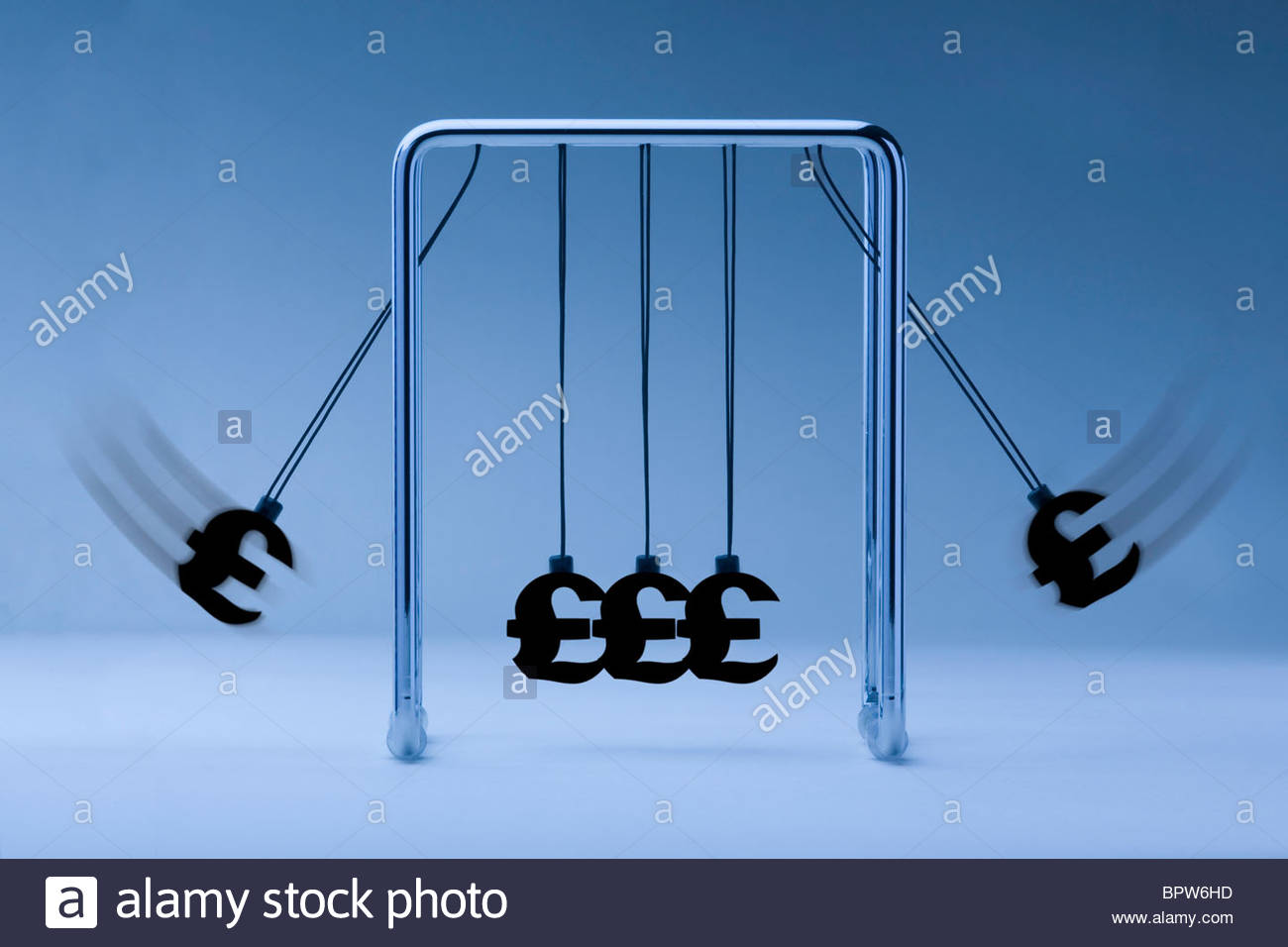 Newtons cradle with pound sterling symbols on blue background - Stock Image