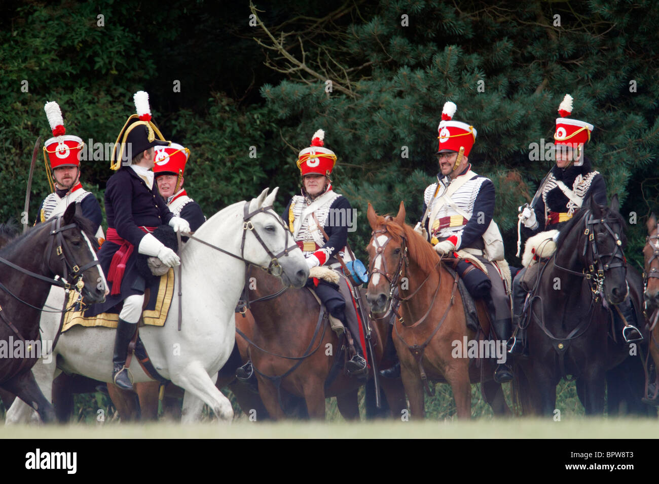 Napoleonic French Cavalry - chasseurs 1804-1815. They were light/line cavalry armed with carbines, smoothbore, black - Stock Image