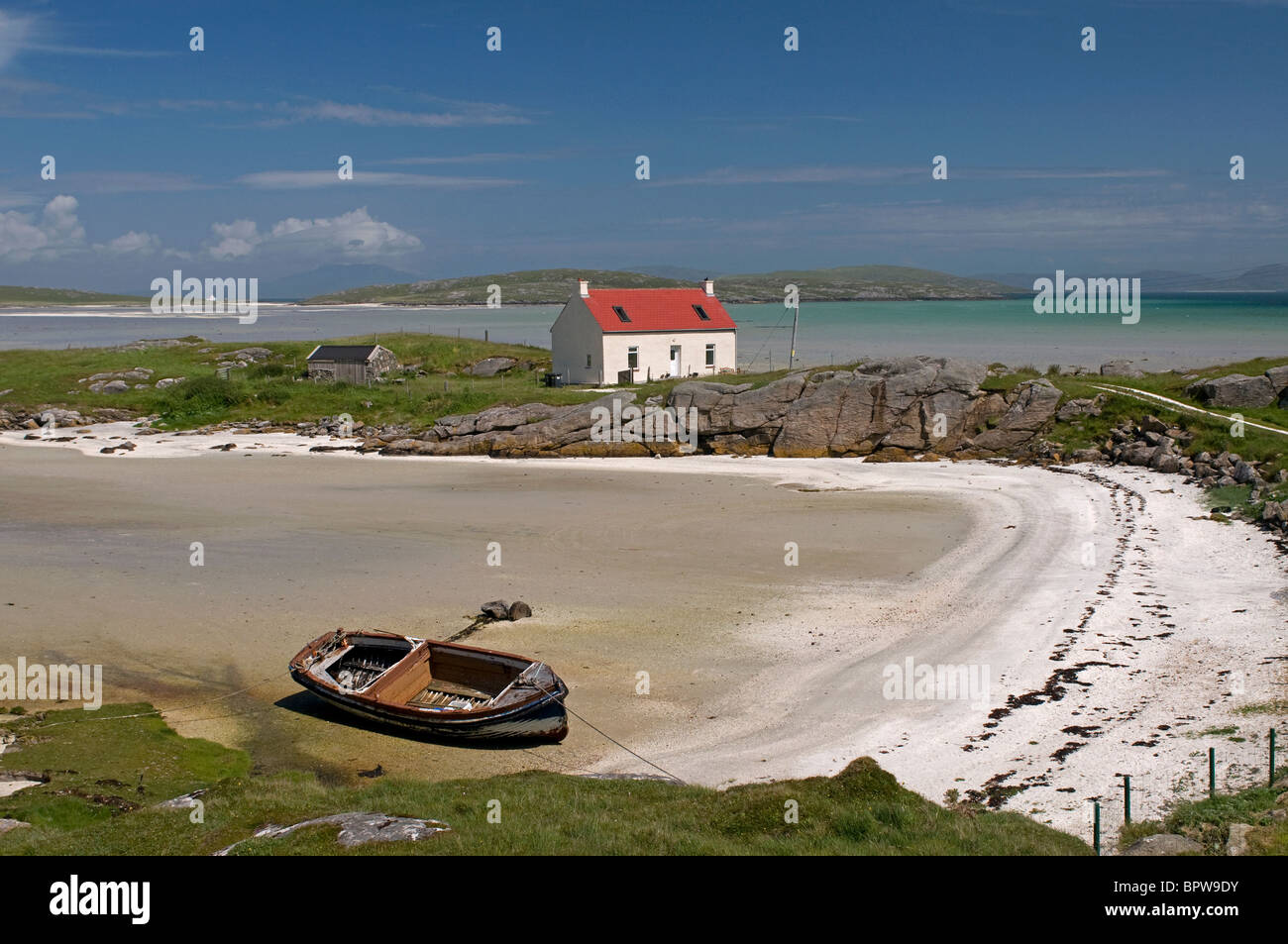 Crannag at Traig Mhor Cockleshell beach Isle of Barra, Outer Hebrides Western Isles. Scotland.  SCO 6536 Stock Photo