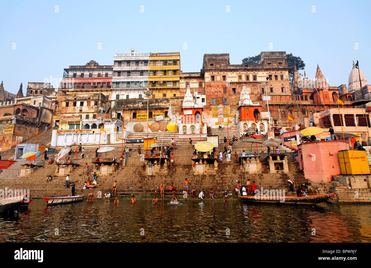 Ghats, River Ganges, Varanasi, India - Stock Image