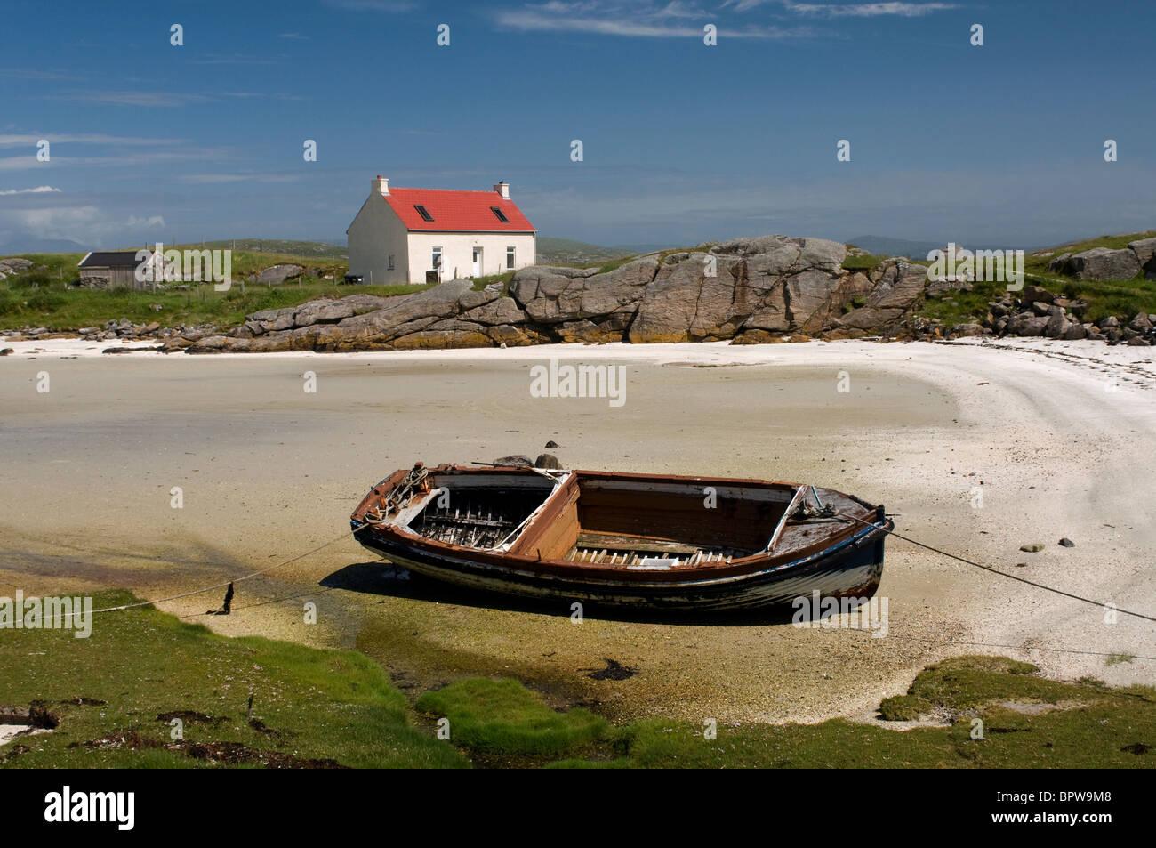 Crannag at Traig Mhor beach Isle of Barra, Outer Hebrides Western Isles. Scotland.  SCO 6539 - Stock Image