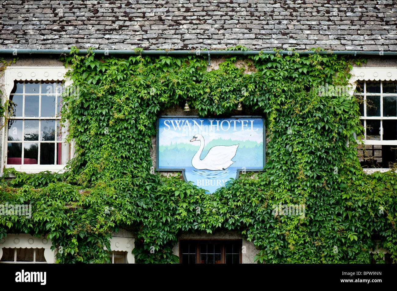 Swan Hotel, Bibury, Cotswolds, Gloucestershire, United Kingdom - Stock Image