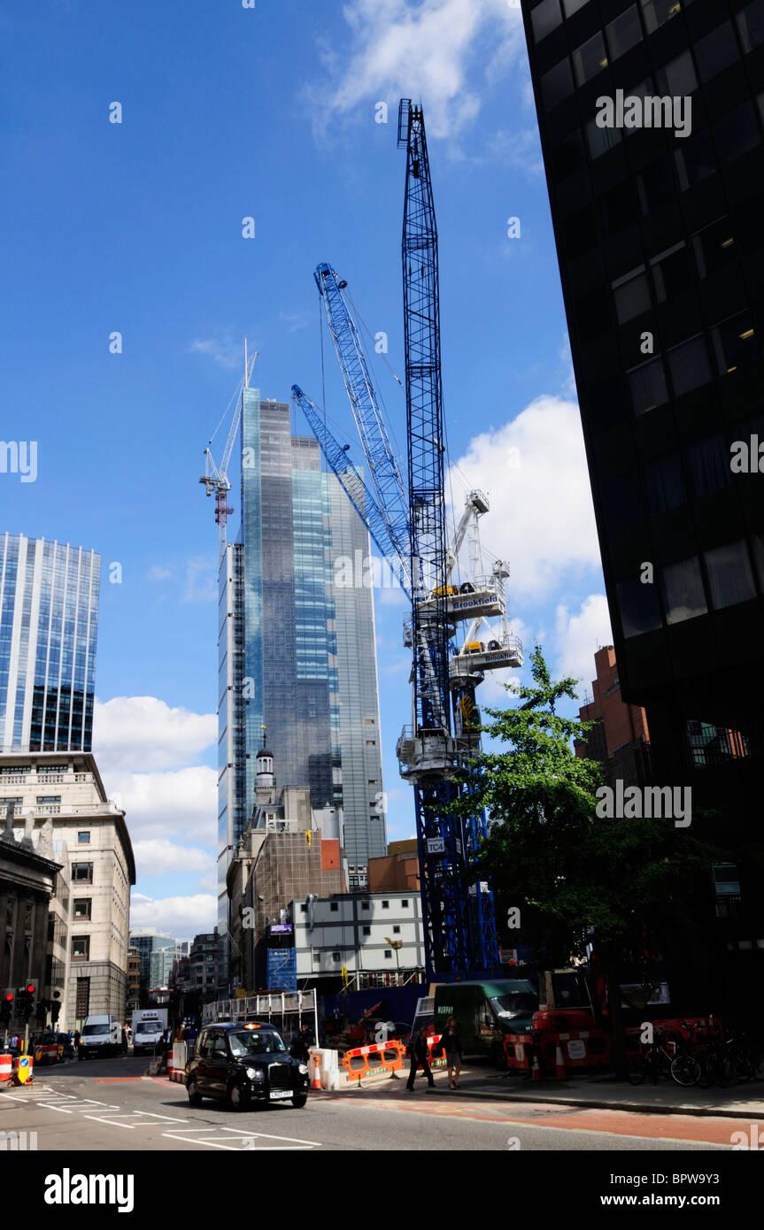 The London Pinnacle and Heron Tower building sites, Bishopsgate, London, England, UK - Stock Image