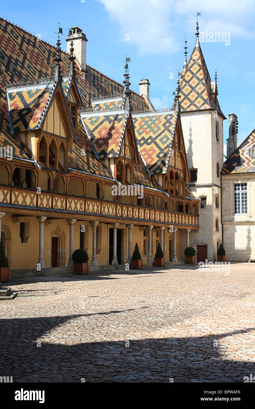 Hotel Dieu, the Beaune Hospice in Burgundy, France. - Stock Image