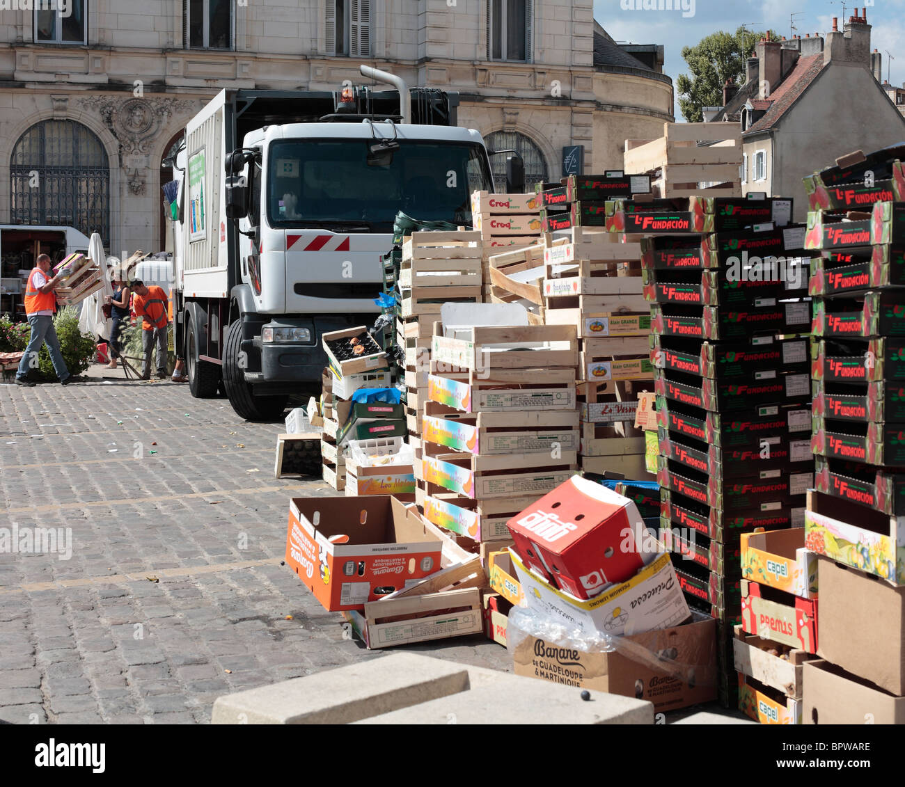 Rubbish Collection after a French Market in Beaune, France. - Stock Image