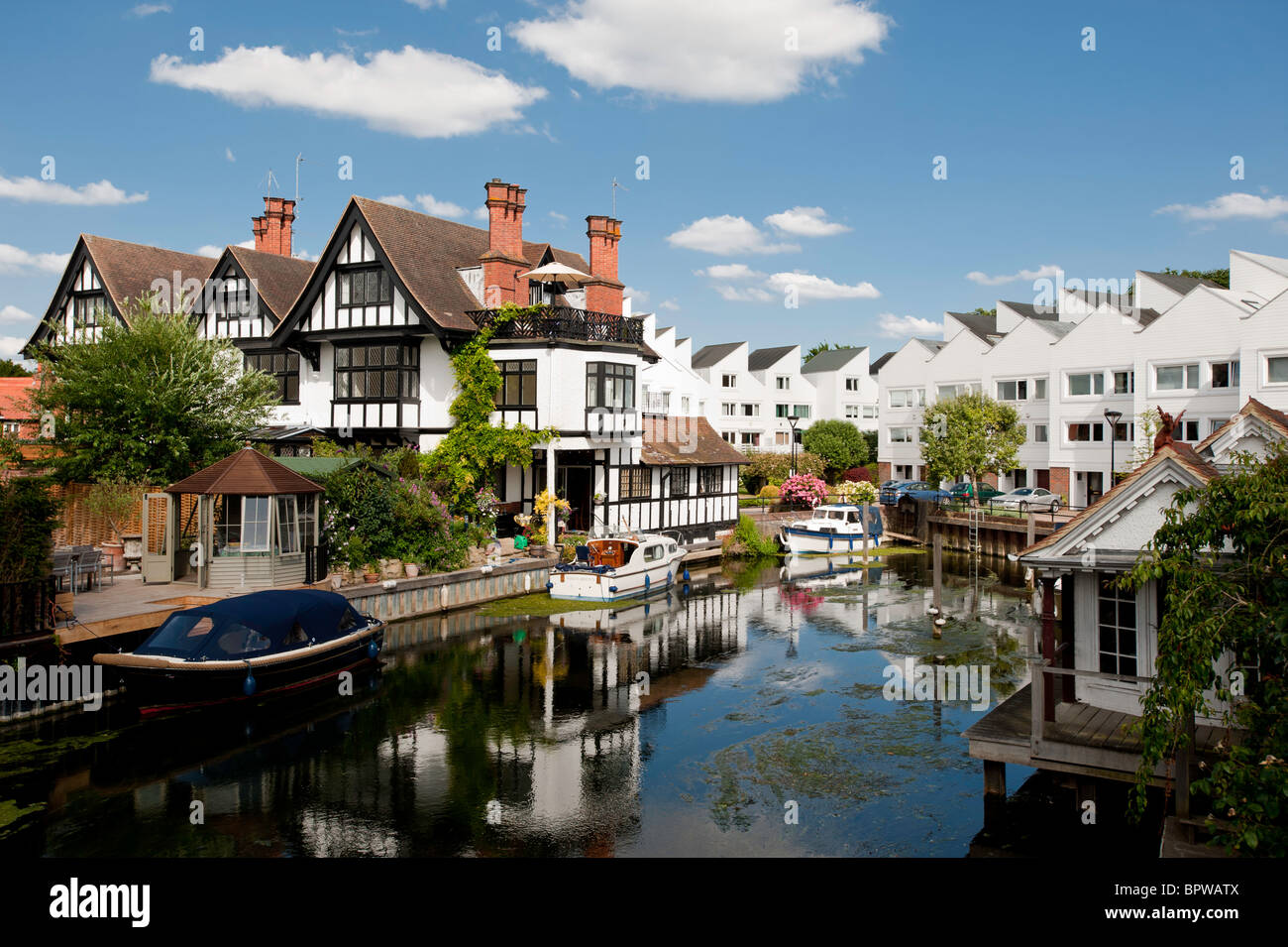 Property overlooking water, Marlow historic town situated on the River Thames, Buckinghamshire, England, United - Stock Image