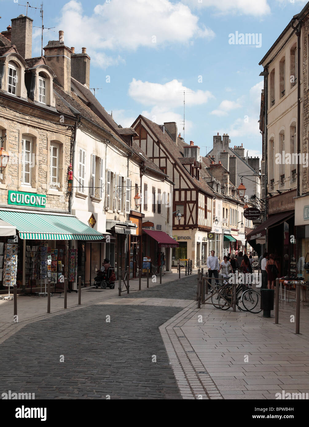 Medieval French Town of Beaune in Burgundy. - Stock Image