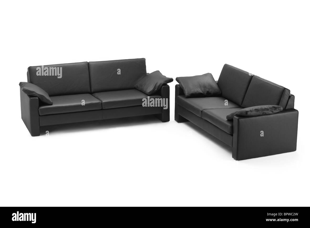 Black leathered furniture - Stock Image