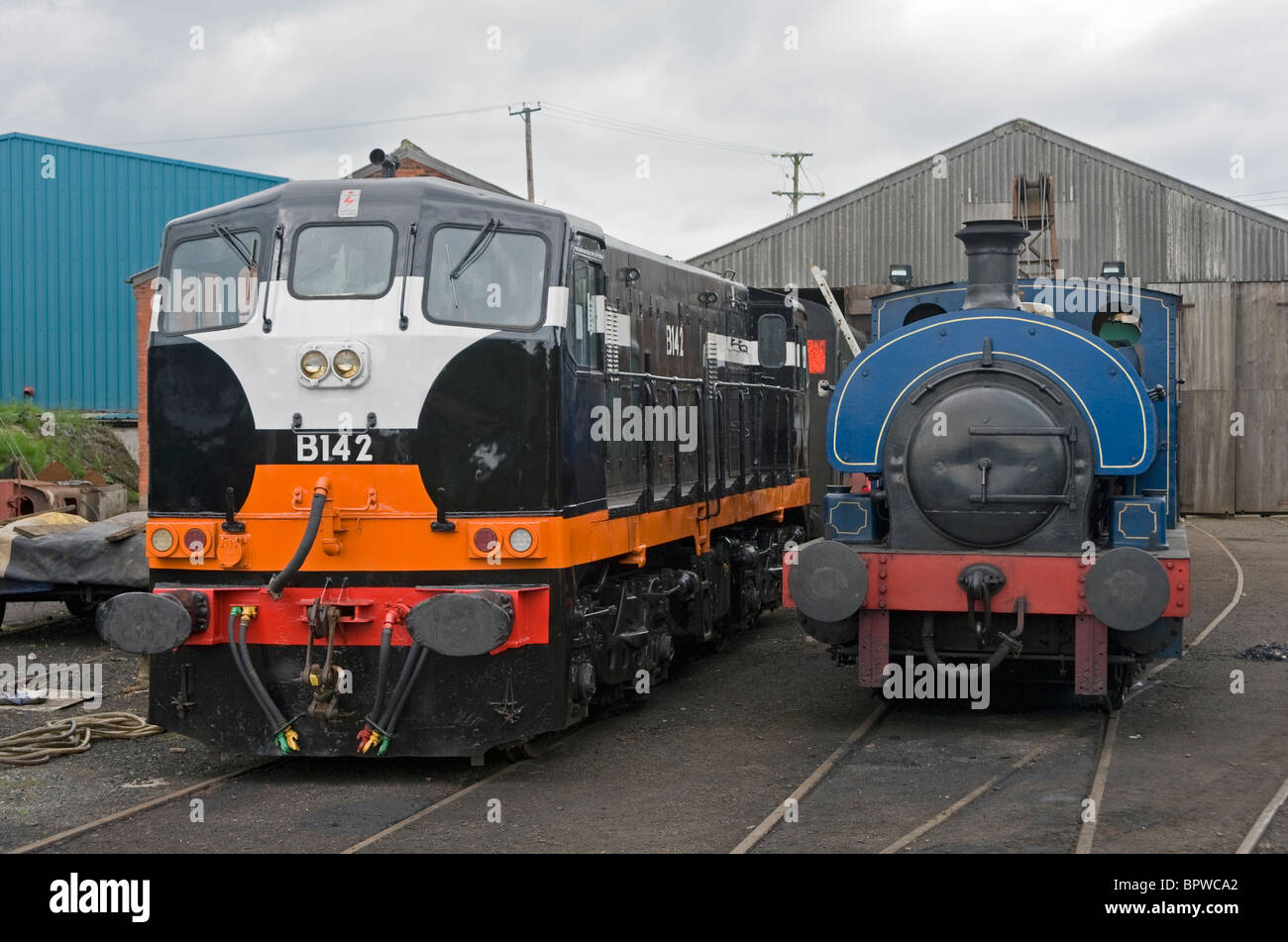 Two locomotives at Railway Preservation of Ireland's depot at Whitehead, County Antrim. Stock Photo