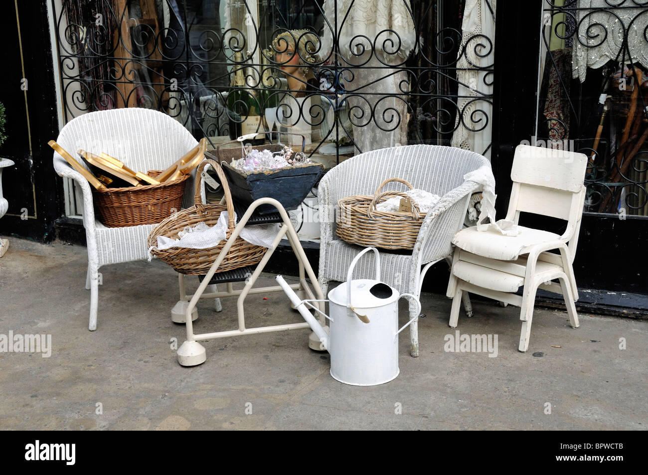 Display Of Vintage Items Outside Antique Shop Camden Passage Islington  London England UK