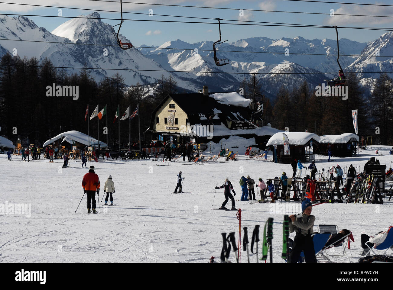 Winter sport. Skiing Sauze D'Oulx, Italy. Sportina - Stock Image