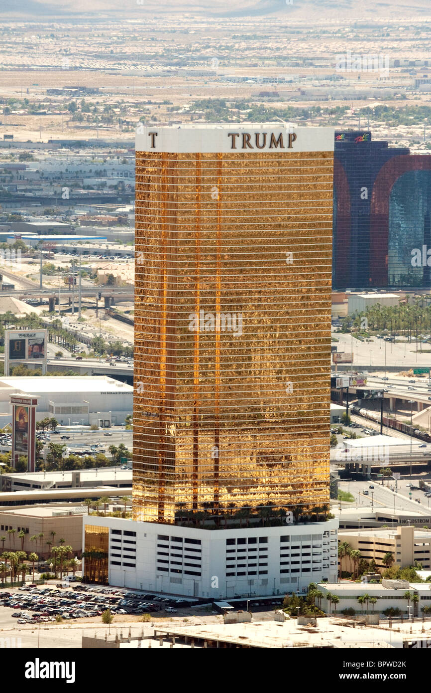 Trump Tower, Las Vegas seen from the Stratosphere Hotel, Las Vegas USA - Stock Image