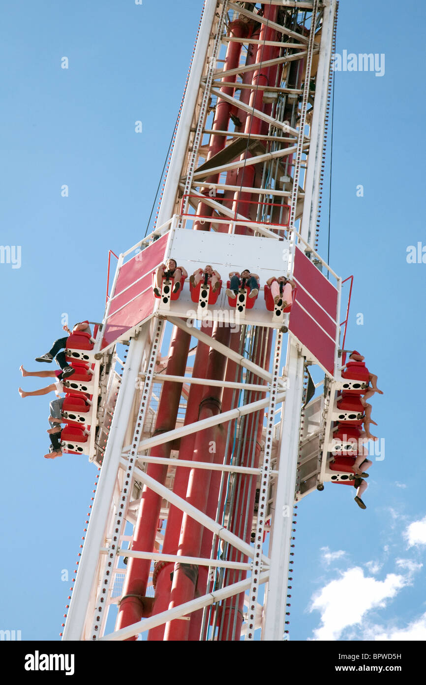 People enjoying the Big Shot thrill ride at the top of the Stratosphere Hotel, Las Vegas USA - Stock Image