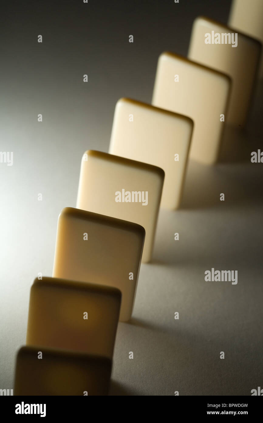 Domino close up, Concept of Cause or Teamwork - Stock Image