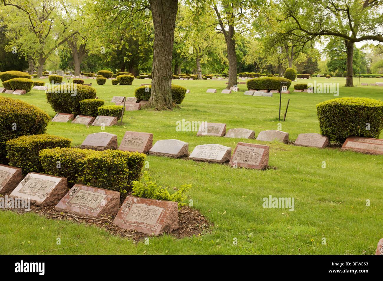 Jewish cemetery near Chicago. - Stock Image