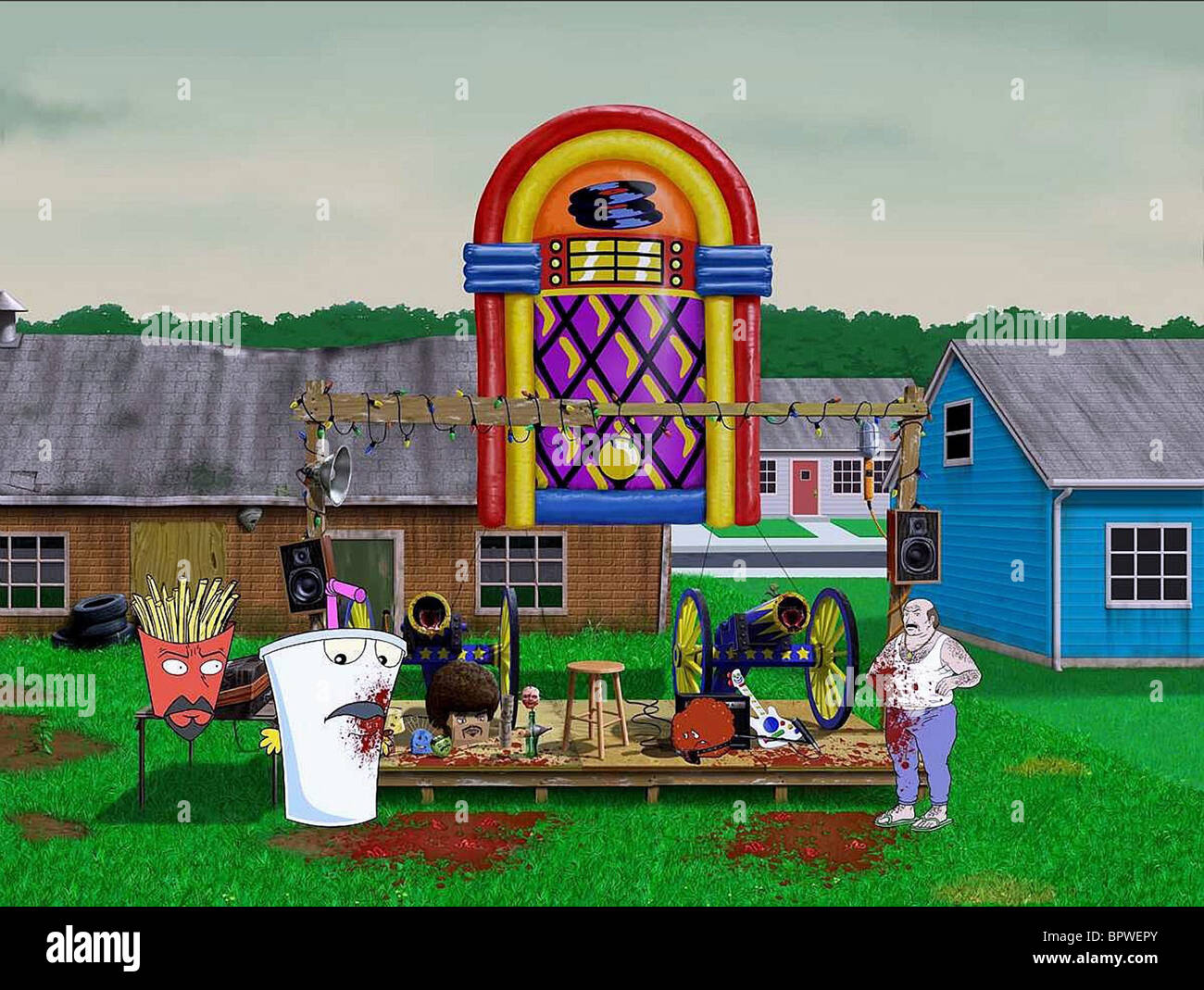 FRYLOCK MASTER SHAKE & MEATWAD IN BACKYARD CONCERT SCENE AQUA TEEN HUNGER  FORCE COLON MOVIE FILM FOR THEATERS (2007)