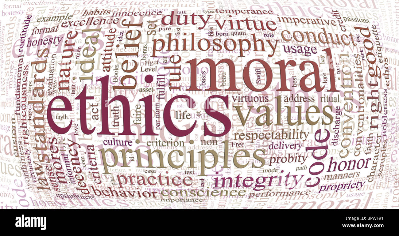 word or tag cloud of ethics morals and values words - Stock Image