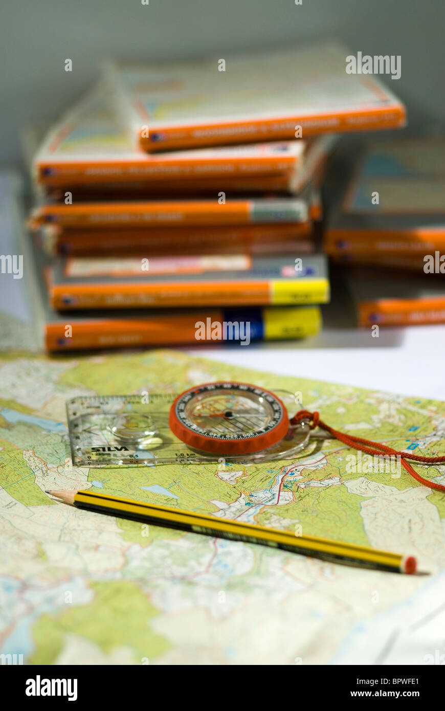 Compass and maps. - Stock Image