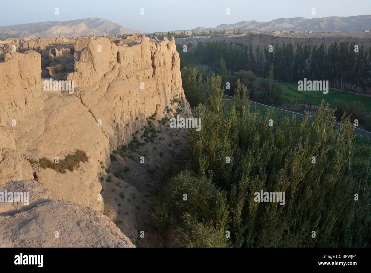 Jiaohe city ruins near Turpan, Xinjiang, China. - Stock Image