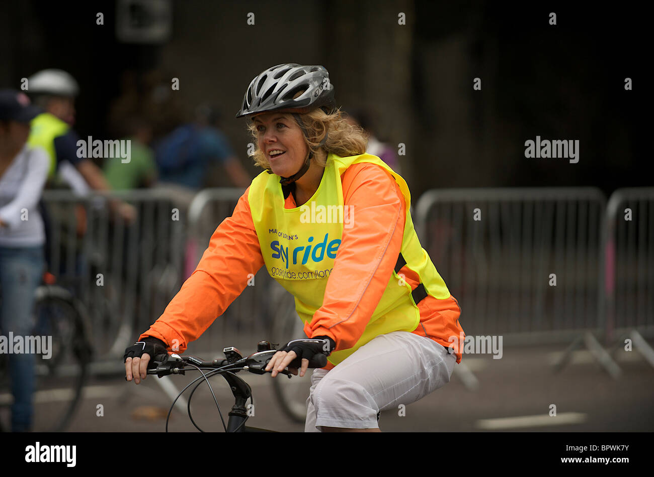 Woman in Sky Ride - Stock Image