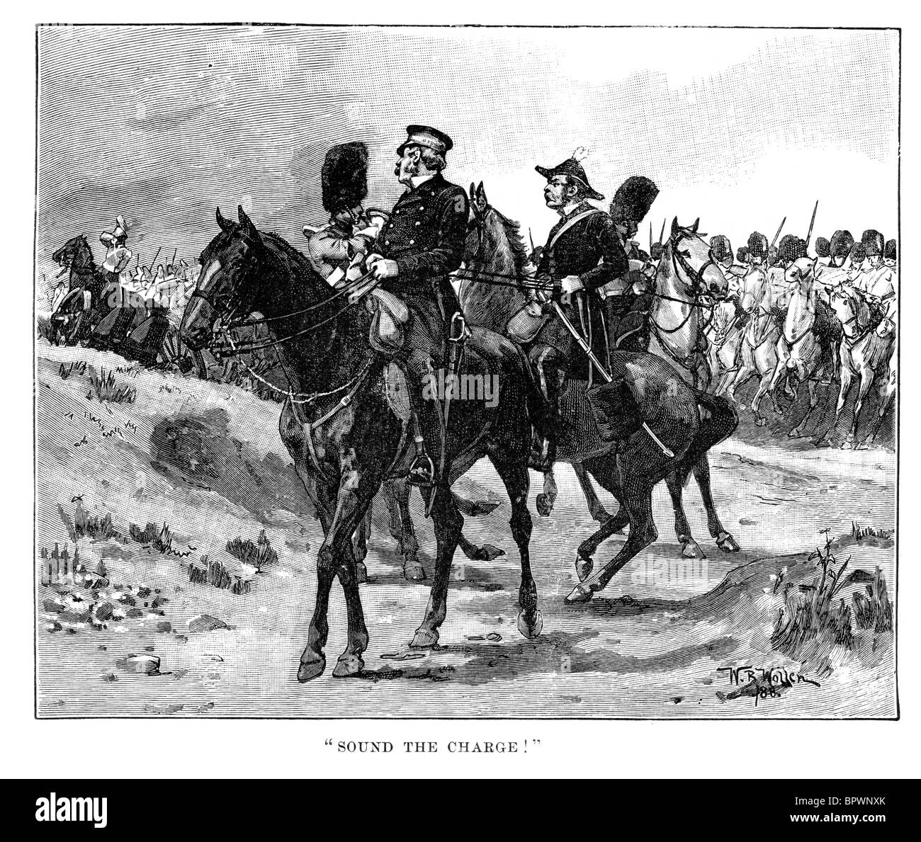 General Sir James Yorke Scarlett leading the 5th Dragoon Guards during the Battle of Balaklava Crimean War - Stock Image