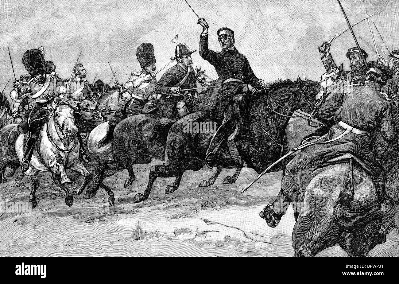 General Sir James Yorke Scarlett leading the 5th Dragoon Guards (Heavy Cavalry Brigade) during the Battle of Balaklava - Stock Image