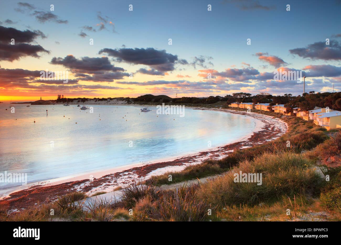 Holiday homes at Longreach Bay at sunrise. - Stock Image