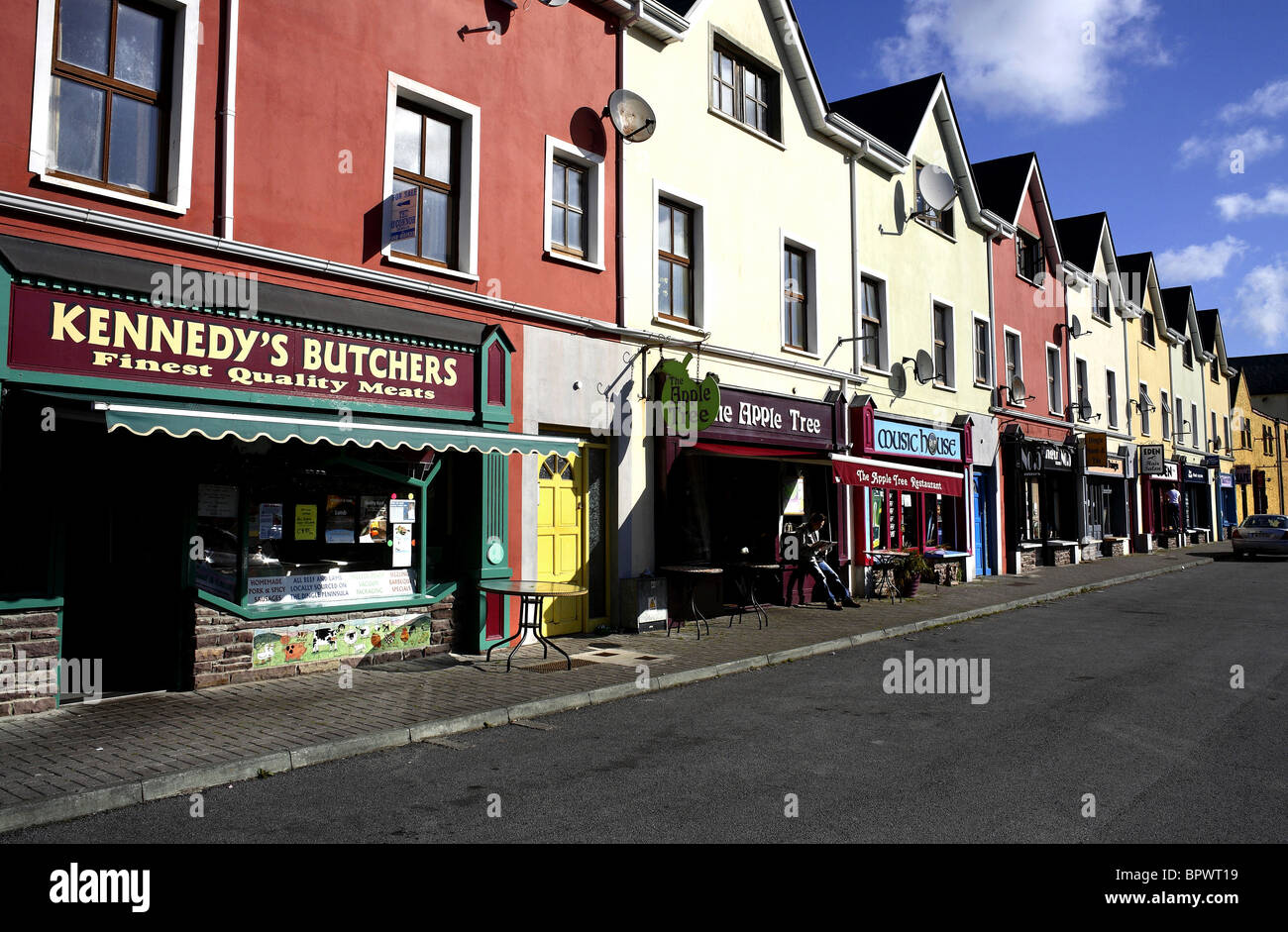 Shop Fronts in Orchard Lane Dingle, County Kerry Ireland - Stock Image