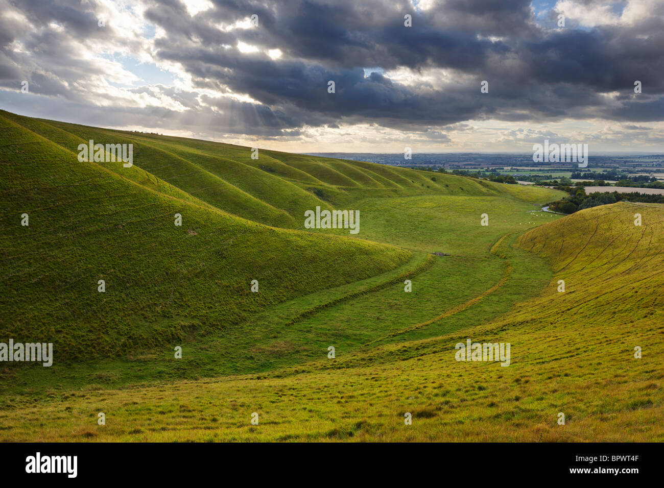 The undulating hillside at Uffington known as the Giant Stairs - Stock Image