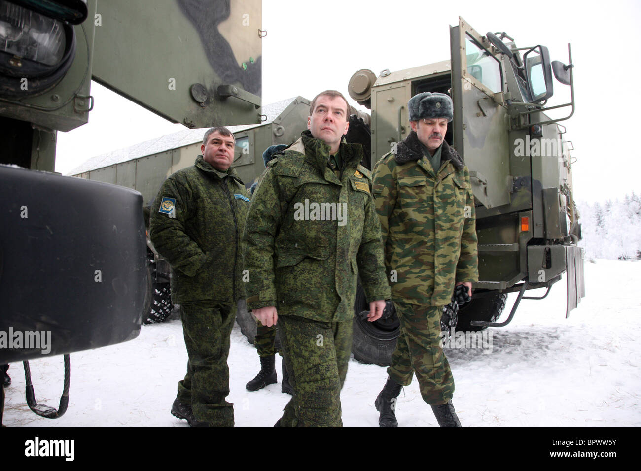 Medvedev sees new combat vehicles in action at test site - Stock Image