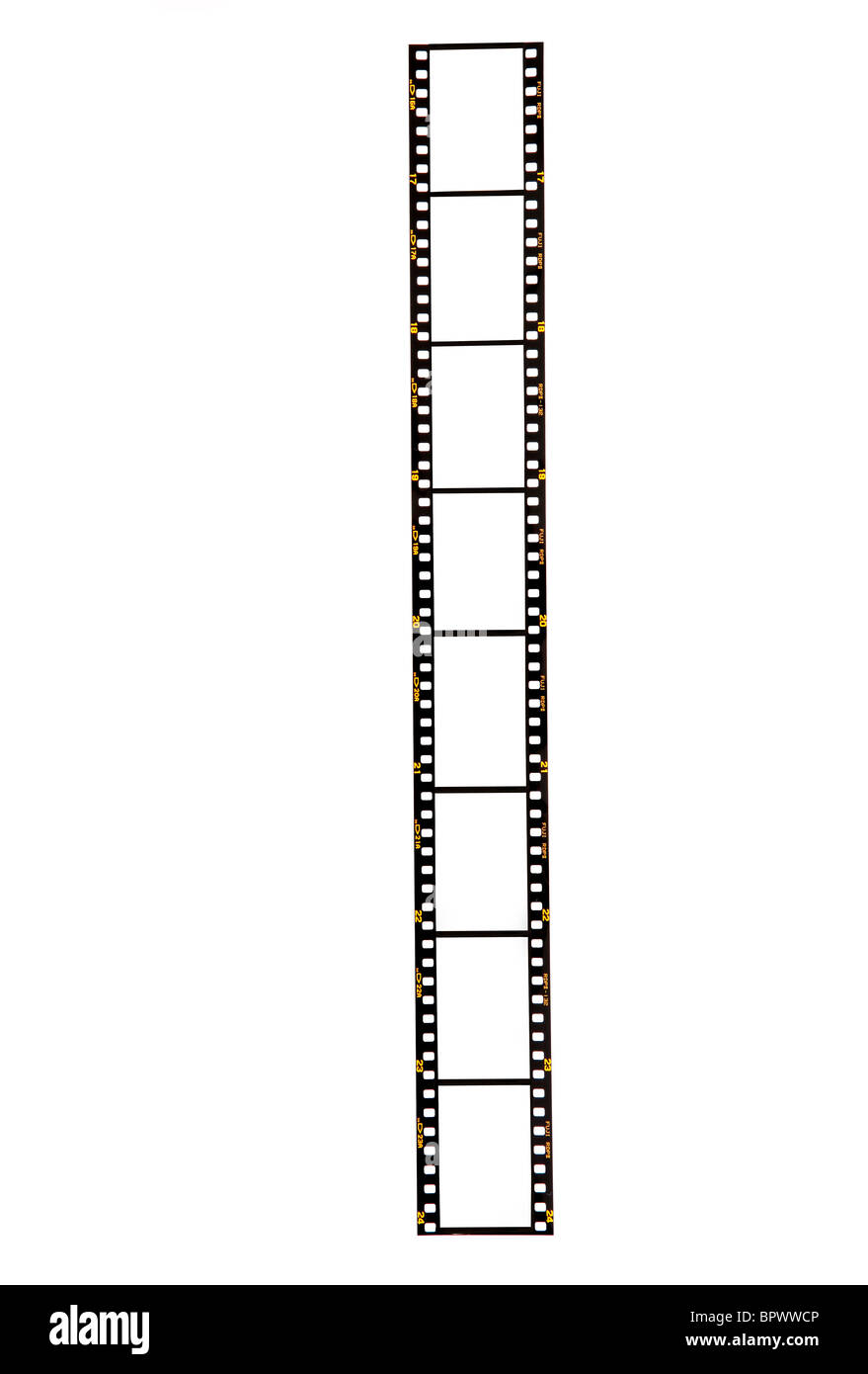 Blank 35mm film strip on a white background ready for your images to be inserted. Fuji, pre-digital from 1980s/1990s. - Stock Image