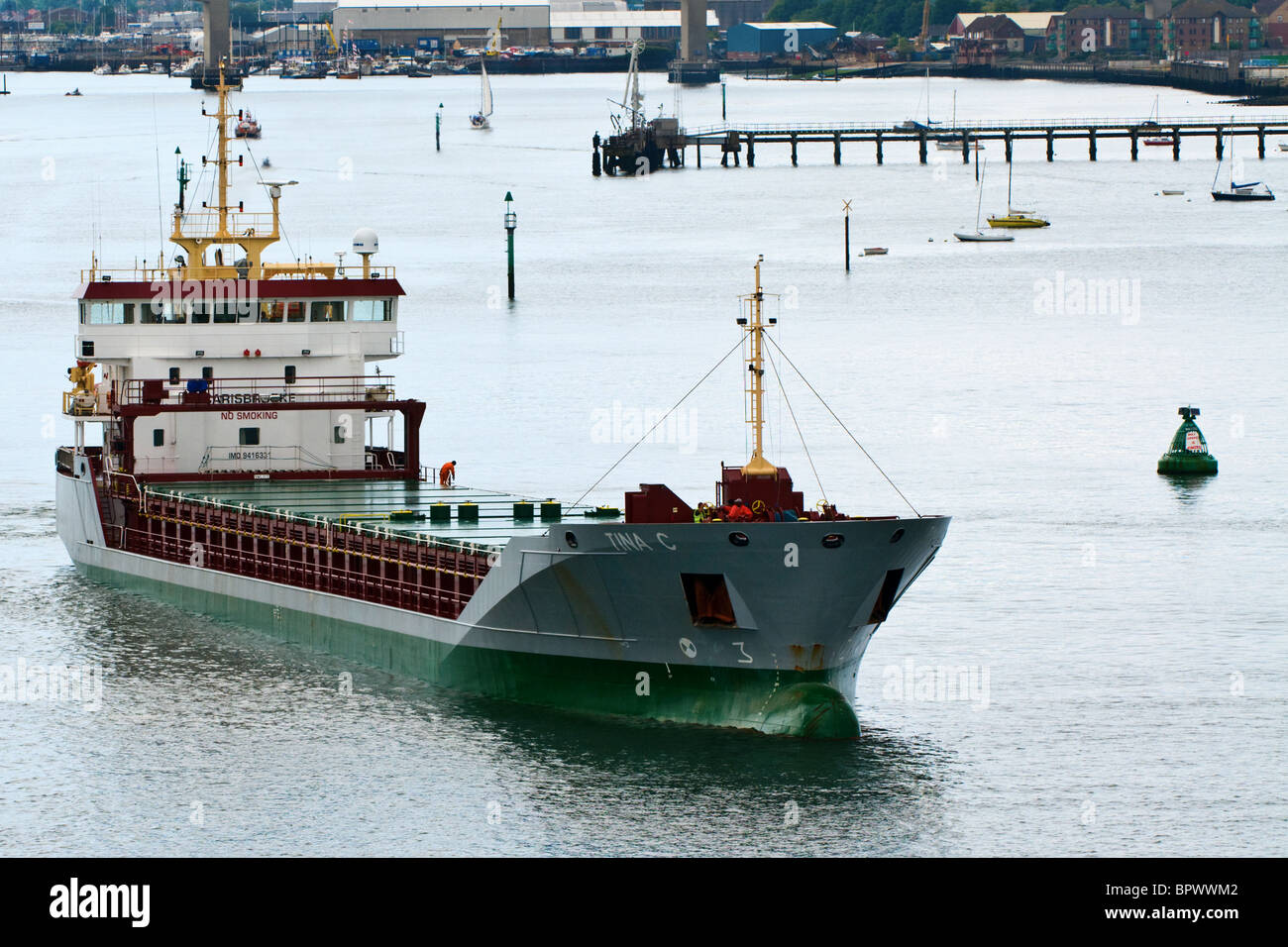 UK registered 'Tina C' Dry General Cargo Ship built in 2008 cruising off the port of Southampton UK. The - Stock Image