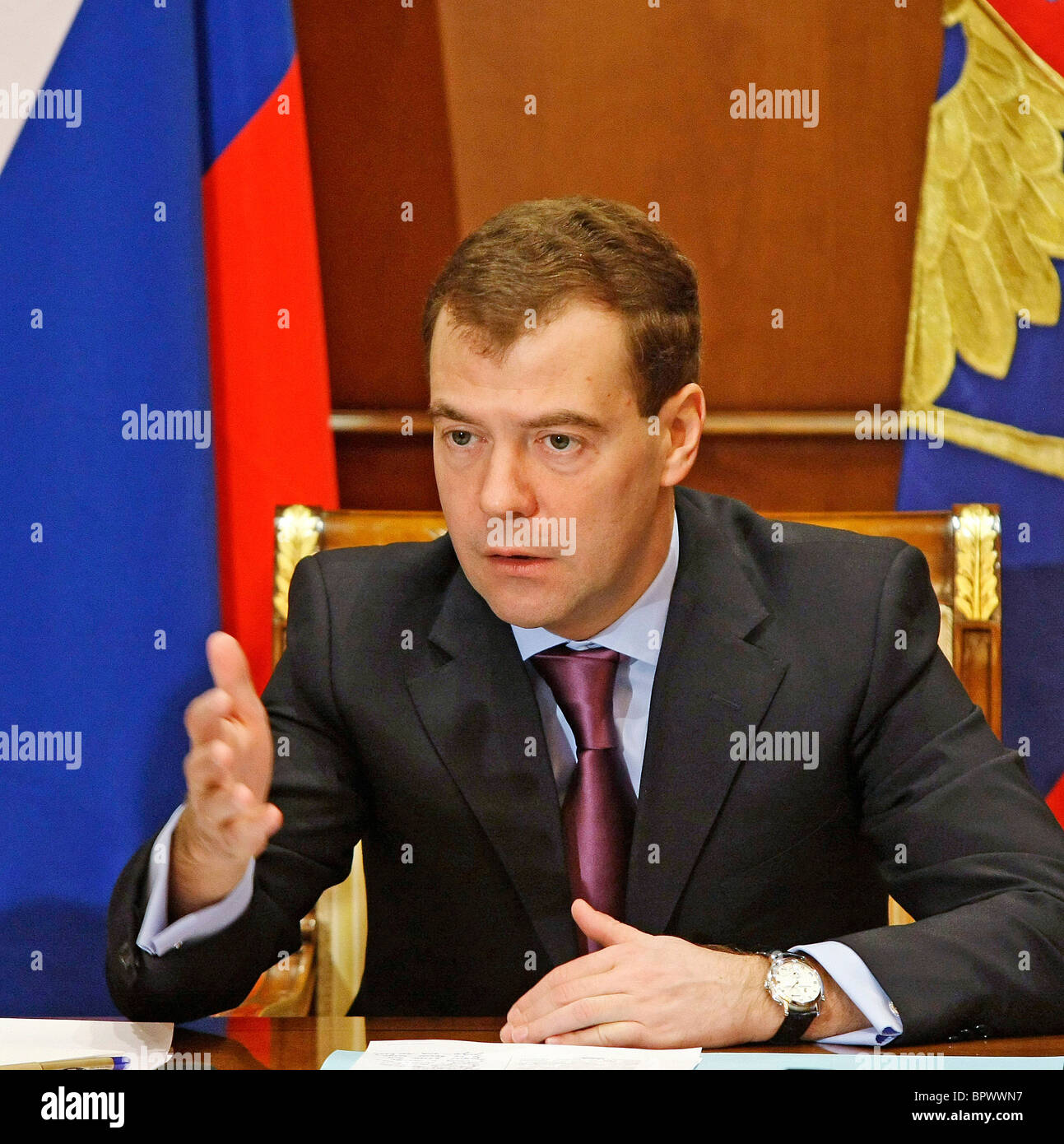 Medvedev holds meeting on economic issues - Stock Image
