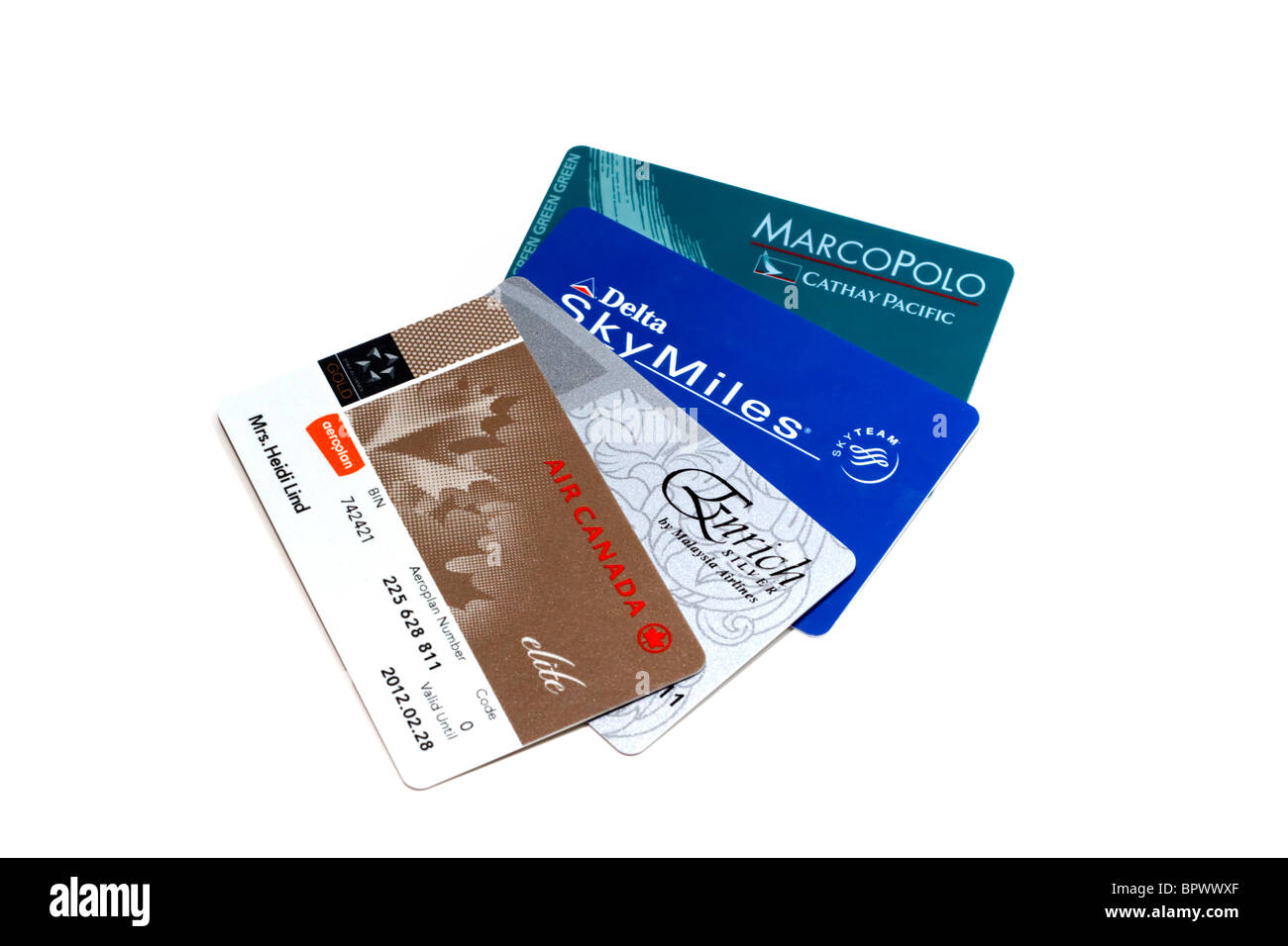 An assortment of  airline frequent flyer membership cards on a white background - Stock Image