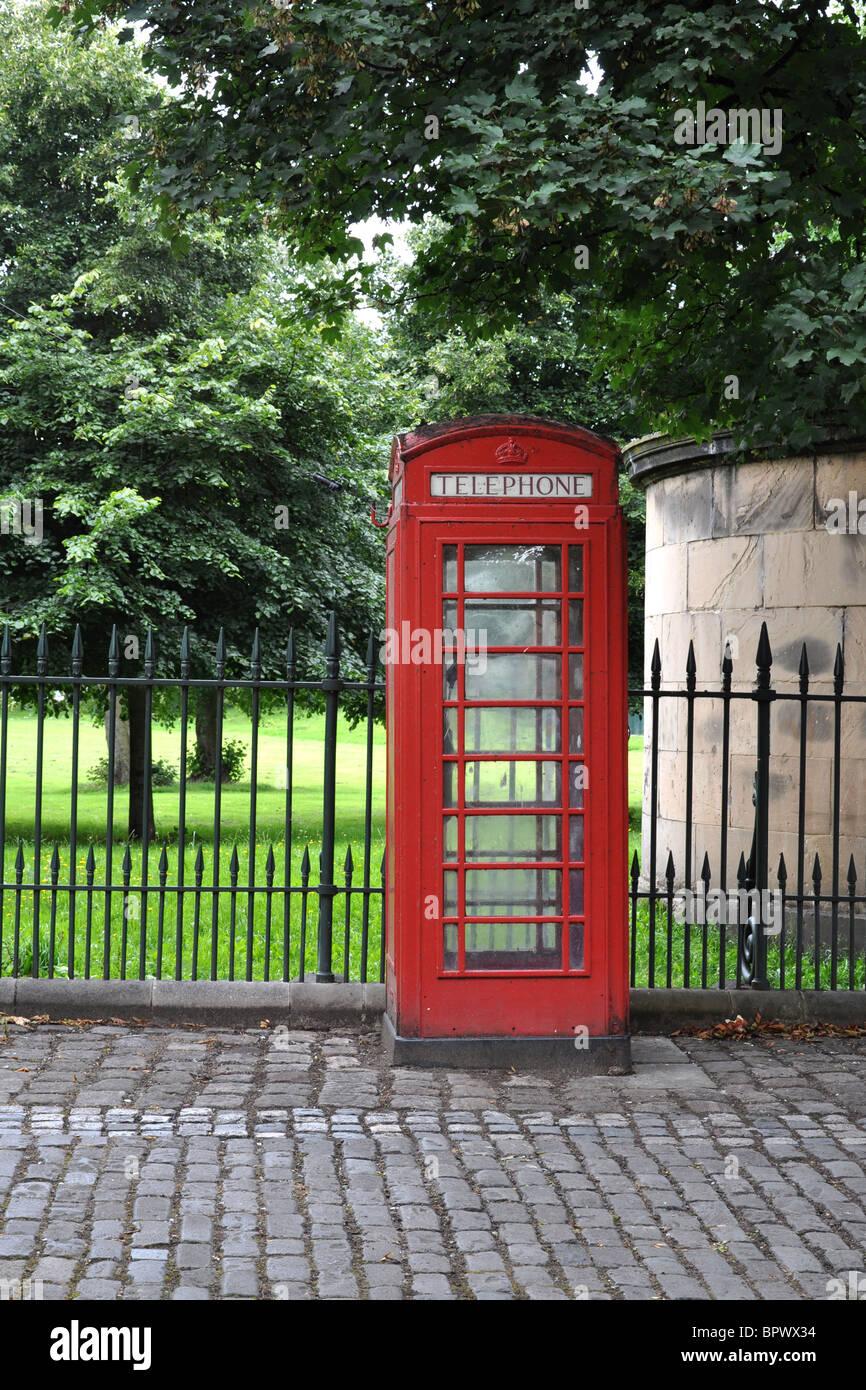 An Elizabethan public telephone box. - Stock Image