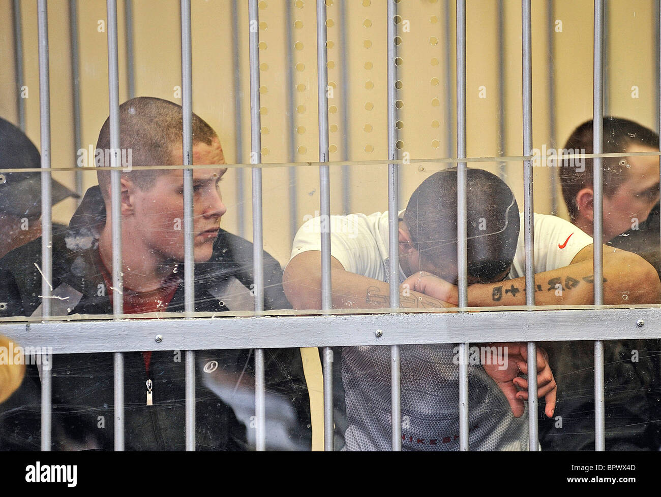 Organizers of juvenile prison riot stand trial - Stock Image