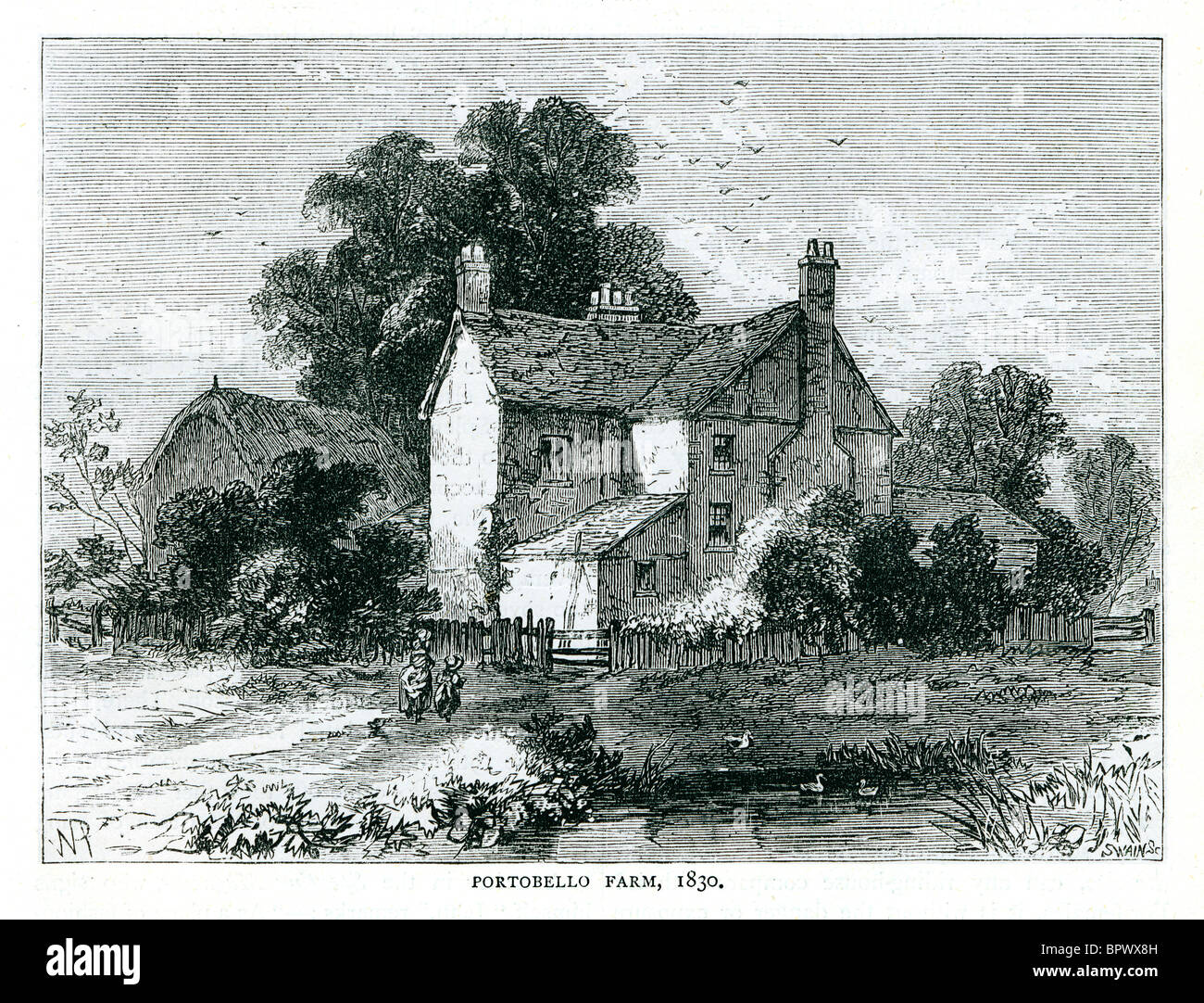 Portobello Farm, 1830 engraving of the property named after the city in the Spanish Main, on what became the Portobello - Stock Image