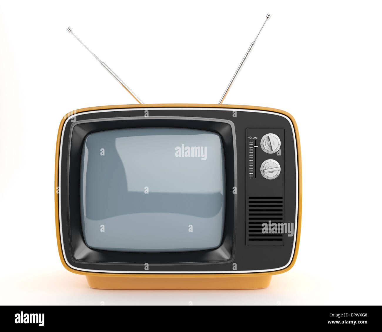 frontal view of an orange retro syle TV, This image contain a clipping path for exact isolation from the background - Stock Image